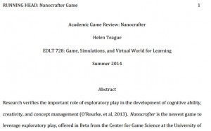 Academic Game Review