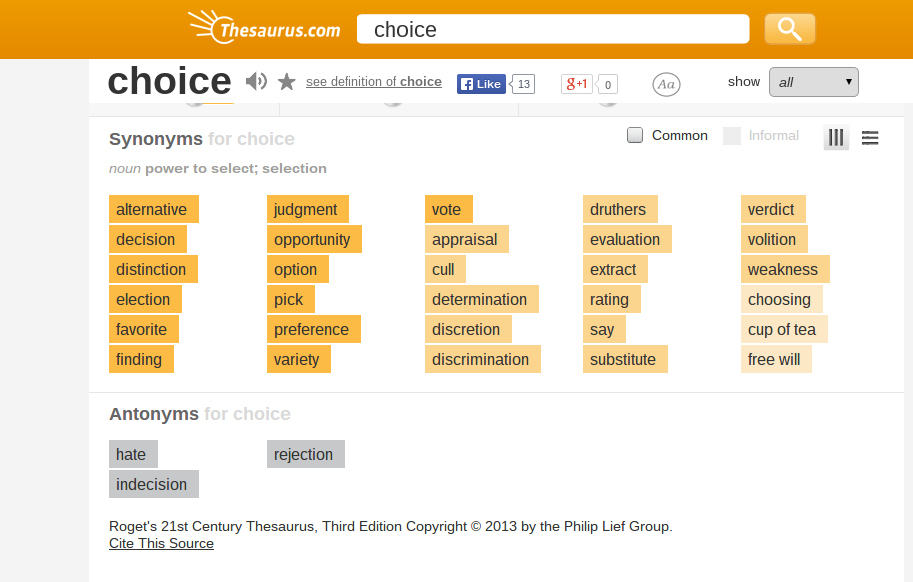 choice antonyms