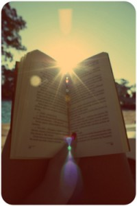 open book with sun