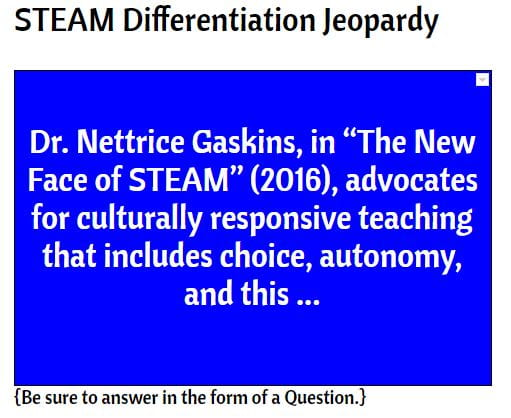 STEAM Differentiation Jeopardy Wk1